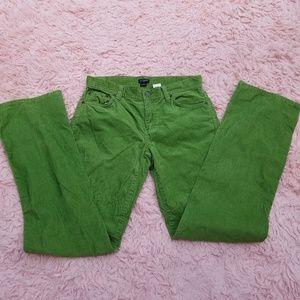 J CREW JEAN PANTS CORDUROY GREEN SIZE 2